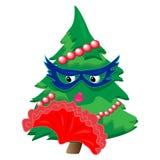 字符圣诞节例证查出的结构树 免版税库存图片
