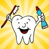 字符干净的健康牙牙 免版税库存照片