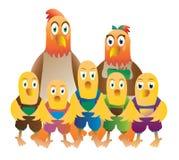 字符快乐的鸡复活节系列问候愉快的例证明信片象征 免版税库存图片