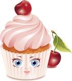 字符樱桃杯形蛋糕 免版税库存照片