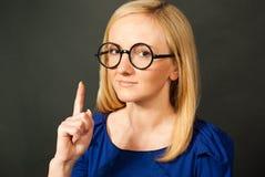 字符滑稽的玻璃教师 免版税库存图片