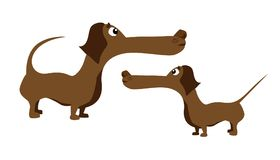 字符狗护符,经文护符匣猎犬,达克斯猎犬贴纸意思号 库存例证