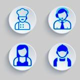 字符纸商标,厨师,支助服务,建造者女服务员 免版税图库摄影