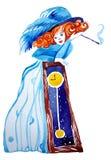 字符:葡萄酒礼服的一个女孩有在喉舌的一根香烟的 库存例证