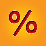 字符%在橙色和黄色颜色字母表的百分率符号字体 库存照片