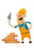 字符建造者放下砖 免版税库存照片