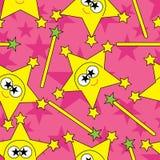 字符eps模式粉红色无缝的星形 免版税图库摄影