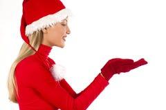 存在圣诞老人的美好的女孩对象 图库摄影