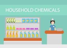 存放家用化工产品,洗涤剂,洗涤剂,化妆用品 与清洗平的样式的家庭的百货商店 向量 库存例证