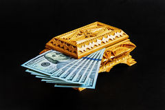 存放的钞票木箱 库存图片