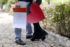 存纸心脏的夫妇和消息1859 免版税库存图片