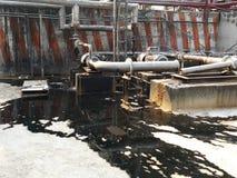 存贮蒸汽也加热在废旧石油屋子里面的地堡c坦克和那辆坦克并且有防爆设备为 免版税库存图片