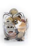 存钱罐、硬币和欧洲票据 节约金钱钞票黑色计算器的概念 钞票特写镜头 图库摄影