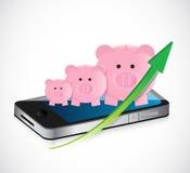 存钱罐企业图表和手机 库存图片