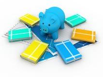 存钱罐和书 免版税图库摄影