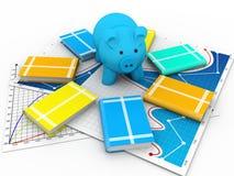 存钱罐和书 免版税库存图片