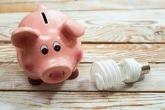 存钱罐和节能电灯泡在木背景 免版税库存图片