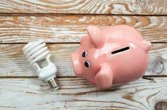存钱罐和节能电灯泡在木背景 免版税库存照片