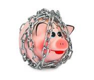 存钱罐和链子 免版税库存照片
