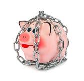 存钱罐和链子 免版税库存图片
