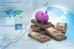 存钱罐和货币 免版税图库摄影