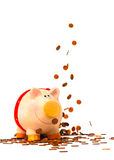 存钱罐在金钱雨中 免版税图库摄影