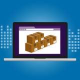 存货管理后勤学系统仓库在计算机软件里面的技术箱子 免版税库存照片