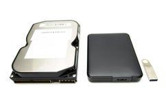 存贮设备、硬盘和USB闪光驱动 免版税图库摄影