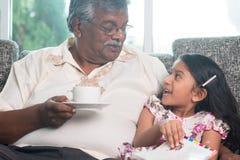孙女和祖父一起阅读书 库存图片