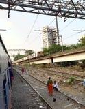 孟买市郊火车 免版税图库摄影