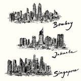 孟买,雅加达,新加坡地平线 库存图片