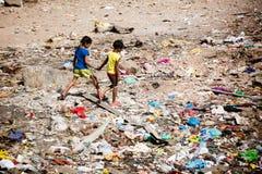 孟买贫民窟生活 免版税库存图片