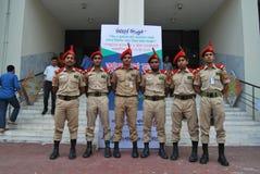 孟加拉国全国军校学生军团BNCC是包括军队、海军和空军队学校的, c的三服务组织 免版税图库摄影