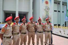 孟加拉国全国军校学生军团BNCC是包括军队、海军和空军队学校的, c的三服务组织 免版税库存图片