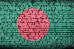 孟加拉国旗子被绘在一个老砖墙上 库存照片