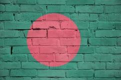 孟加拉国旗子被绘在一个老砖墙上 图库摄影
