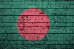 孟加拉国旗子被绘在一个老砖墙上 免版税库存图片