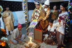 孟加拉婚姻仪式 免版税图库摄影