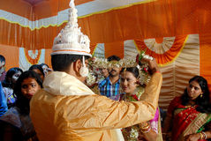 孟加拉婚礼仪式在印度 免版税库存照片