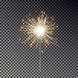 孟加拉火 新年在透明背景隔绝的闪烁发光物蜡烛 现实传染媒介光eff 向量例证