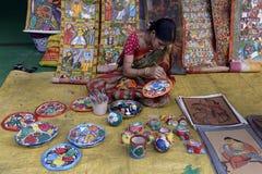 绘画孟加拉罐。 库存照片