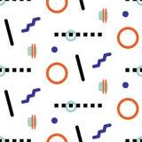 孟菲斯几何形状行家无缝的传染媒介样式 库存图片