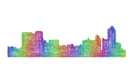 孟菲斯地平线剪影-多色线艺术 库存图片