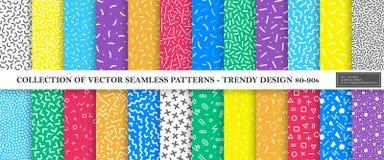 孟菲斯无缝的样式的五颜六色的充满活力的传染媒介收藏 时尚设计80-90s 明亮的时髦的纹理 库存例证