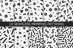孟菲斯无缝的样式-传染媒介样片汇集 时尚80-90s 黑白纹理 图库摄影