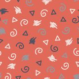 孟菲斯样式塑造无缝的传染媒介背景 抽象现代模式 转动,三角,蓝色的杂文,桃红色,白色 对织品 库存例证