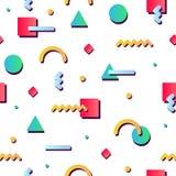 孟菲斯样式纹理、样式和几何元素 免版税库存图片