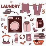 孟菲斯洗衣店装饰 逗人喜爱的手拉的乱画动画片例证 客房服务员现代美术 也corel凹道例证向量 免版税图库摄影