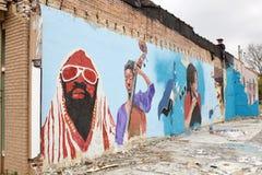 孟菲斯灵魂绘音乐的艺术家有一个角度,孟菲斯,田纳西 免版税库存图片