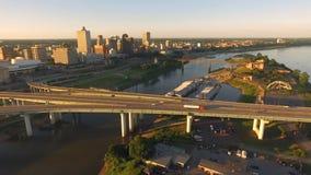 孟菲斯田纳西地平线密西西比河埃尔南多德索托桥梁 股票视频